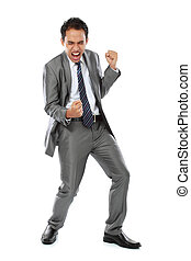 business man success expression - Excited business man with...