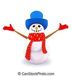 joyfull snow man - 3d art illustration of joyfull snow man