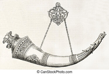 Drinking horn - Decorated drinking horn old illustration,...
