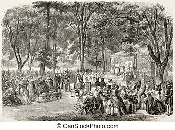 Outdoor Mass old illustration, Promenade de Dames,...