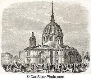 Notre-Dame de Bon-Port basilica old view, Nantes, France....