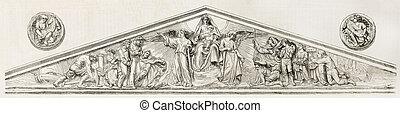 Pediment and medaillons of Notre-Dame de Bon-Port basilica,...