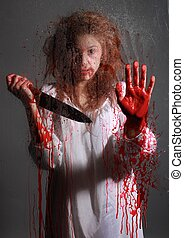 Horror Themed Image With Bleeding Freightened Woman