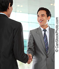 business colleagues shaking hands - attractive business...
