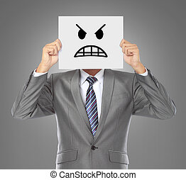 hombre de negocios, enojado, máscara