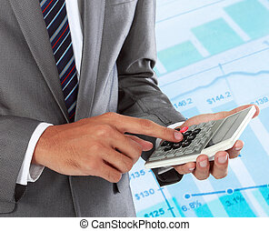 business accounting - Businessman working and analyzing with...