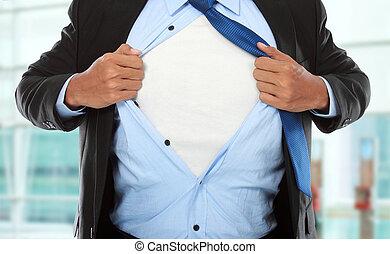 Super businessman - Businessman showing a superhero suit...