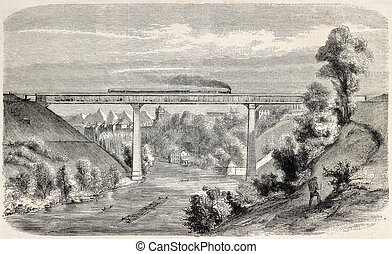 Railway viaduct over Aar river, near Berne, Switzerland....