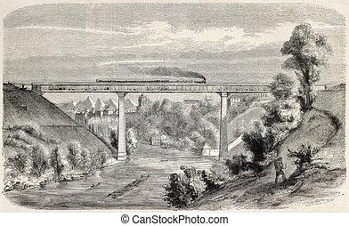 Railway viaduct over Aar river, near Berne, Switzerland....