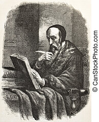 Calvin - John Calvin old engraved portrait, French...