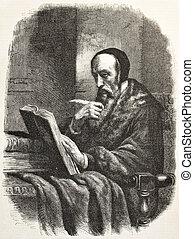 Calvin - John Calvin old engraved portrait, French...