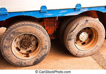 truck tire.  - Truck tire big size. Prepared to move.