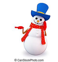 snow man with blank space - 3d art illustration of snow man...