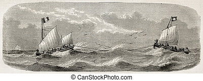 Lifeboats sailing after French vessel Imperatrice-du-Bresil...