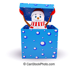 snow man is coming out of gift box - 3d art illustration of...