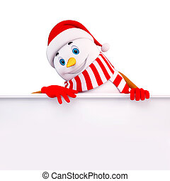 snow man with sign - 3d art illustration of snow man with...