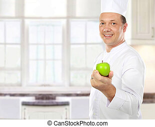 male chef with apple