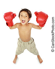 boxing kid - portrait of happy young kid with boxing glove...