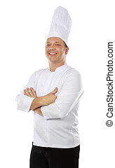 chef smiling - Portrait of confident male chef smiling...