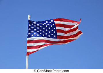 USA flag - United states of America flag waving on the wind