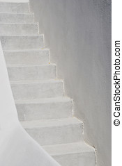 Concrete stairs painted in white Typical architecture in...