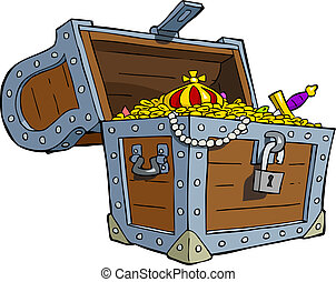 Treasure chest - A treasure chest on a white background...