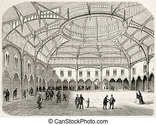 Antwerp stock exchange old view (summer 1858). Created by...