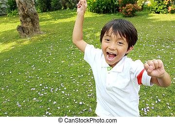 running little boy