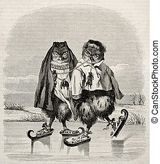 Ice skater owls - Ice skaters owls fanciful old...