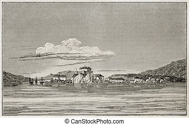 Sitka old view, Alaska (formerly New Archangel during...