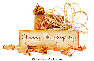 Thanksgiving card isolated on white background