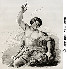 David with the head of Goliath. After painting by Carrache...