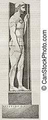 Marathon soldier bas relief old illustration. After Greek...