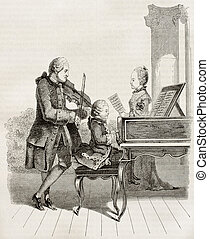 Mozart wonder child with his father and sister in 1763, old...