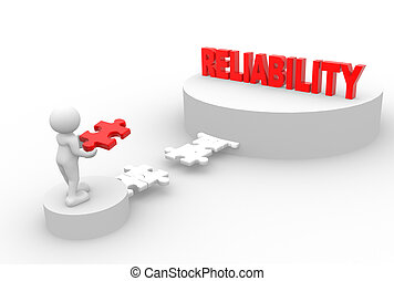 Reliability - 3d people - man, person with pieces of puzzle...