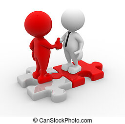 Partners - 3d people - men, person shaking hands on puzzle...