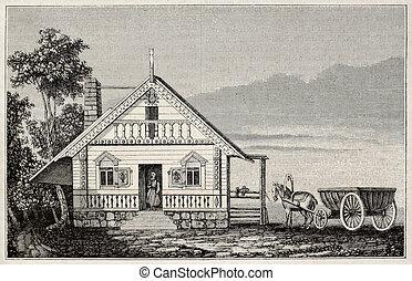 Russian-American house old illustration age of Russian...