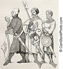 Medieval soldiers - Three medieval soldiers old illustration...