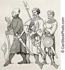Medieval soldiers - Three medieval soldiers old...