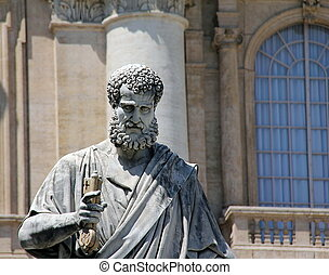 Saint Peter statue in the Vatican - Saint Peter holding the...
