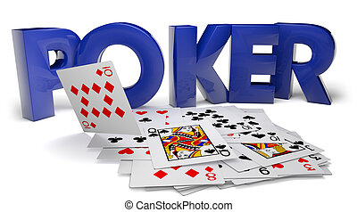 Poker - Render of the text poker and cards