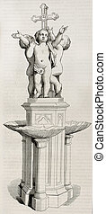 Baptismal font old illustration. Marble goup sculpted by...