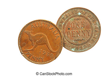 Old Australian Pennies - Two old Australian pennies, one...