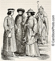 Medieval costumes - 12th century costumes of noblemen and...