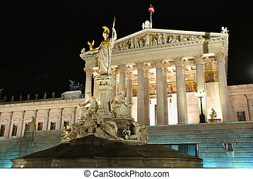 Austrian Parliament by night - The Austrian Parliament...
