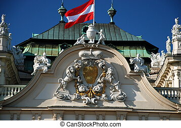 Flag on the Belvedere, Vienna - The Belvedere is a...