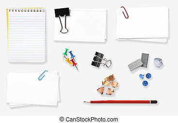 Office Stuff - Variety of office stationery, isolated on...