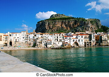 Village of Cefalu, Sicily, Italy - Cefal is a city and...