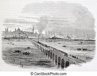 Venice railway: viaduct across lagoon Created by Campin,...