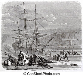Pelican - The Pelican, French vessel, in the Hudson bay....